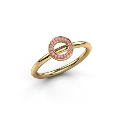 Ring Shape round small 585 goud roze saffier 0.8 mm