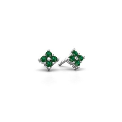 Picture of Stud earrings Maryetta 925 silver emerald 2 mm