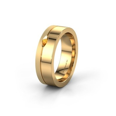 Wedding ring WH0329L16B 585 gold citrin ±0.24x0.08 in