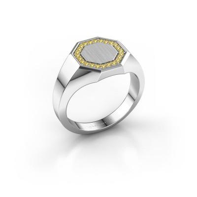 Heren ring Floris Octa 2 375 witgoud gele saffier 1.2 mm