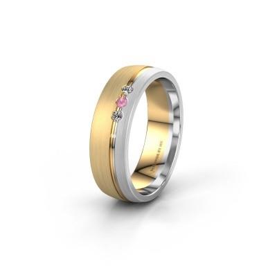 Trouwring WH0322L25AM 585 goud roze saffier ±6x1.7 mm