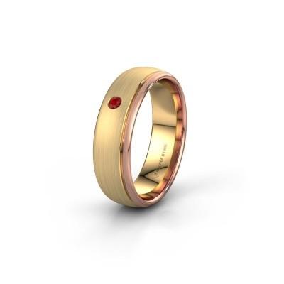 Trouwring WH0501L36AM 585 goud robijn ±6x1.7 mm