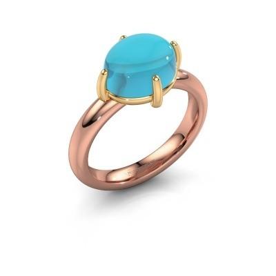 Ring Melodee 585 rosé goud blauw topaas 10x8 mm