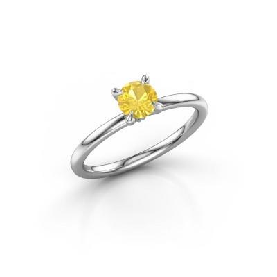 Foto van Verlovingsring Crystal RND 1 585 witgoud gele saffier 5 mm
