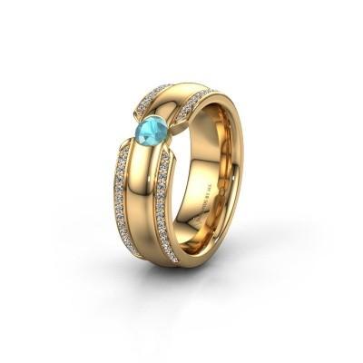 Wedding ring WHR0575L 375 gold blue topaz ±7x2 mm