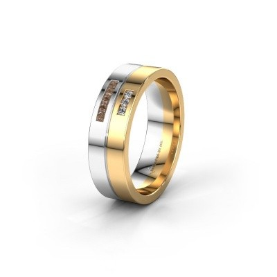 Wedding ring WH0207L16AP 585 white gold brown diamond ±0.24x0.07 in