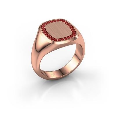 Heren ring Floris Cushion 3 375 rosé goud robijn 1.2 mm