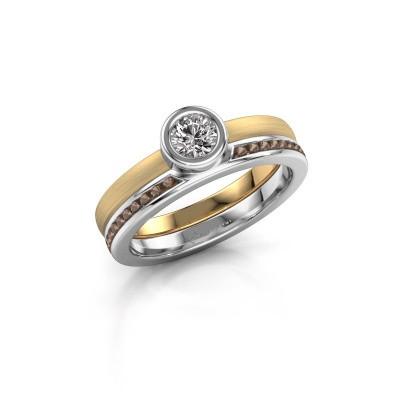 Foto van Ring Cara 585 goud rookkwarts 4 mm