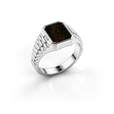 Foto van Rolex stijl ring Brent 1 585 witgoud heliotroop 10x8 mm