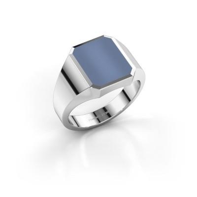 Foto van Zegelring Lars 2 925 zilver licht blauwe lagensteen 12x10 mm