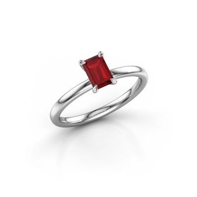 Foto van Verlovingsring Crystal EME 1 585 witgoud robijn 6x4 mm