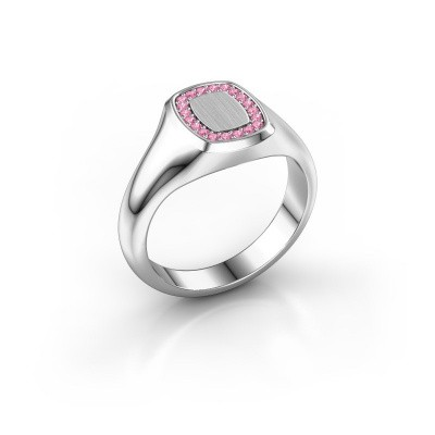 Foto van Zegelring Dalia Cushion 1 375 witgoud roze saffier 1.2 mm