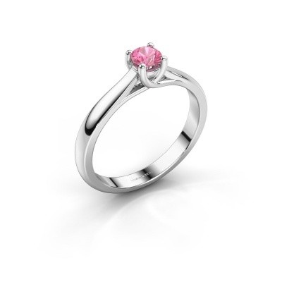 Foto van Verlovingsring Mia 1 585 witgoud roze saffier 4 mm