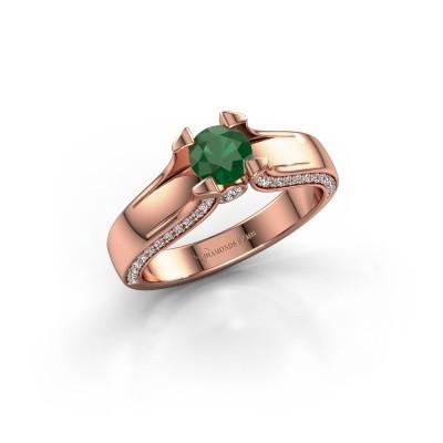 Verlovingsring Jeanne 1 375 rosé goud smaragd 5 mm