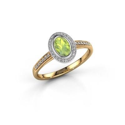 Engagement ring Noud 2 OVL 585 gold peridot 6x4 mm