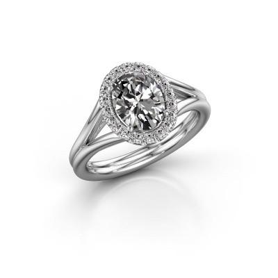 Engagement ring Rachele 1 585 white gold zirconia 8x6 mm