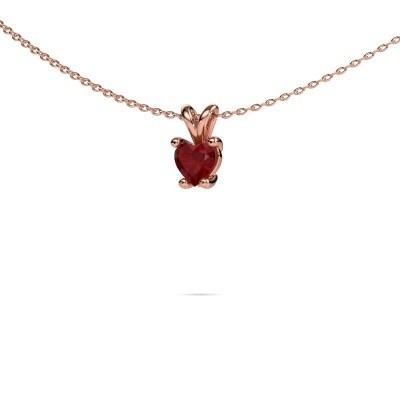 Foto van Ketting Sam Heart 375 rosé goud robijn 5 mm