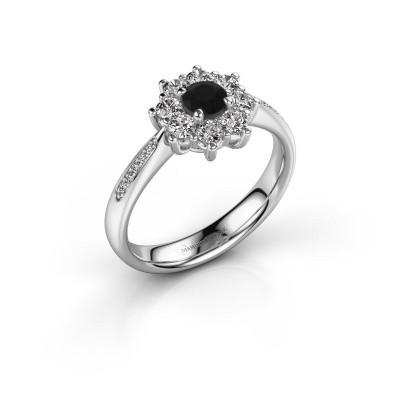 Verlovingsring Carolyn 2 585 witgoud zwarte diamant 0.18 crt