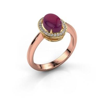 Ring Kristian 585 rosé goud rhodoliet 8x6 mm