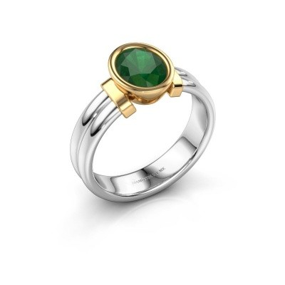 Ring Gerda 585 white gold emerald 8x6 mm