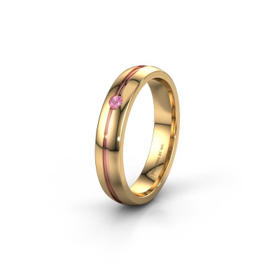 Trouwring WH0424L24A 585 goud roze saffier ±4x1.7 mm