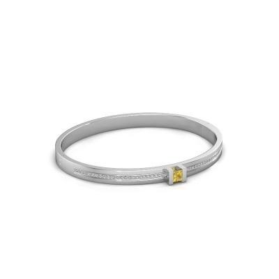 Armband Desire 585 witgoud gele saffier 4 mm
