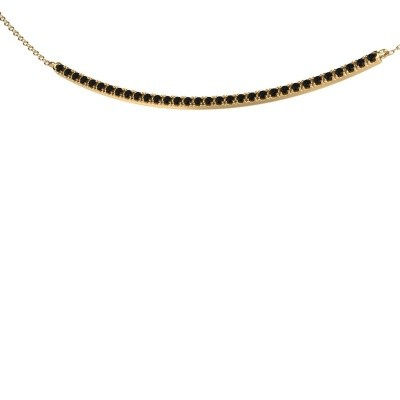 Bar ketting Simona 375 goud zwarte diamant 0.576 crt