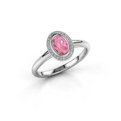 Verlovingsring Noud 1 OVL 585 witgoud roze saffier 6x4 mm
