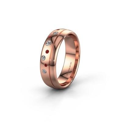 Trouwring WH0317L36AP 585 rosé goud robijn ±6x1.7 mm