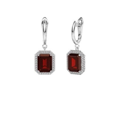 Drop earrings Dodie 1 585 white gold garnet 9x7 mm