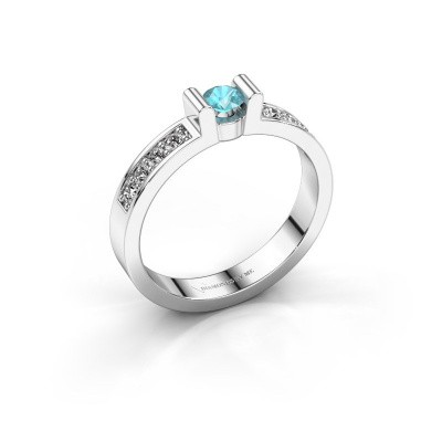 Verlovingsring Sofie 2 950 platina blauw topaas 3.4 mm