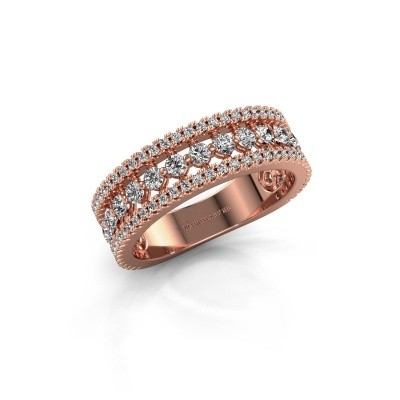 Engagement ring Elizbeth 1 375 rose gold zirconia 2 mm