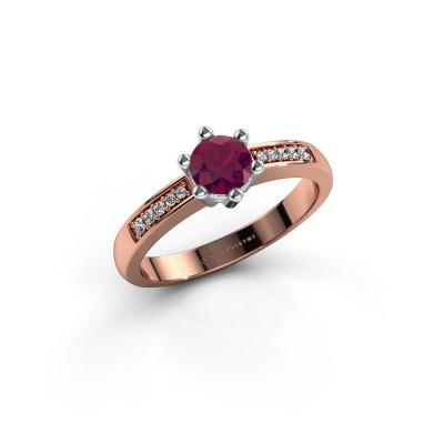 Verlovingsring Luna 2 585 rosé goud rhodoliet 5 mm