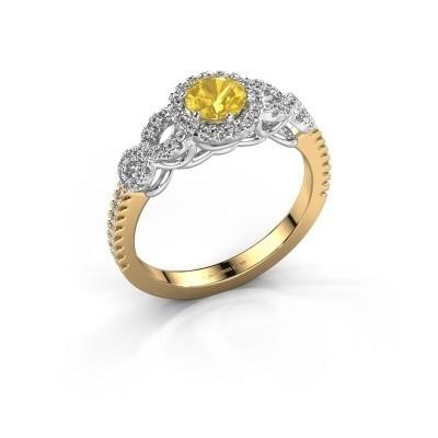 Verlovingsring Sasja 585 goud gele saffier 5 mm