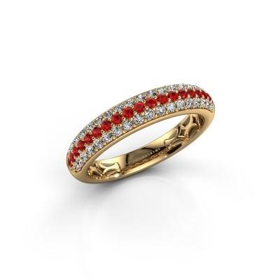 Foto van Ring Emely 4 375 goud robijn 1.4 mm