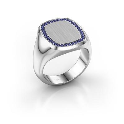Heren ring Floris Cushion 4 950 platina saffier 1.2 mm