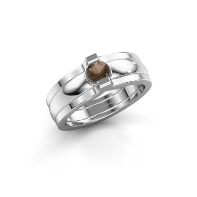 Ring Jade 925 silver smokey quartz 4 mm