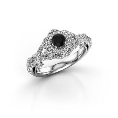Foto van Verlovingsring Cathryn 585 witgoud zwarte diamant 0.914 crt