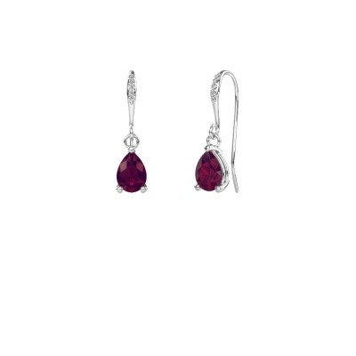 Picture of Drop earrings Laurie 2 375 white gold rhodolite 7x5 mm