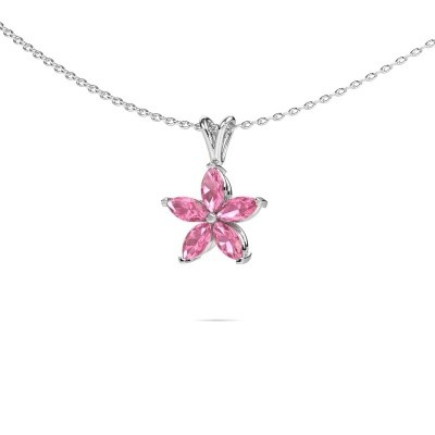 Picture of Necklace Sylvana 950 platinum pink sapphire 5x2.5 mm