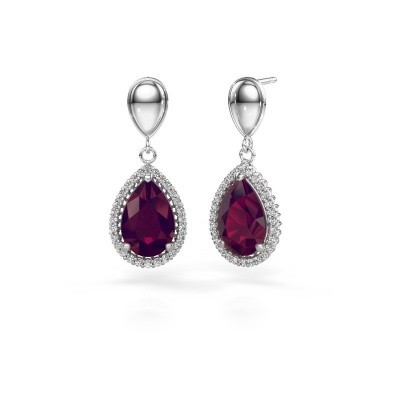 Drop earrings Cheree 1 950 platinum rhodolite 12x8 mm