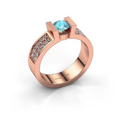 Verlovingsring Lieve 3 375 rosé goud blauw topaas 5 mm