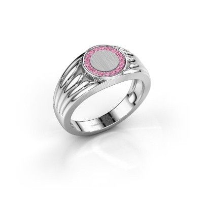 Pinkring Jacobus 375 witgoud roze saffier 1.2 mm