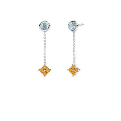 Picture of Drop earrings Ardith 585 white gold citrin 2 mm