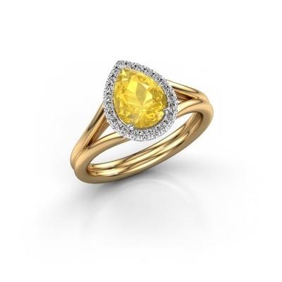 Bild von Verlobungsring Elenore 585 Gold Gelb Saphir 8x6 mm