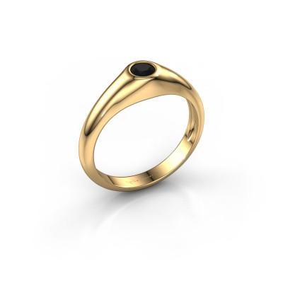 Foto van Pinkring Thorben 585 goud zwarte diamant 0.30 crt