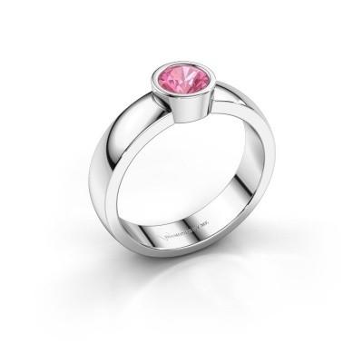 Foto van Ring Ise 1 925 zilver roze saffier 4.7 mm