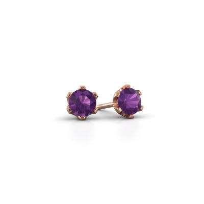 Picture of Stud earrings Fran 375 rose gold amethyst 4.7 mm