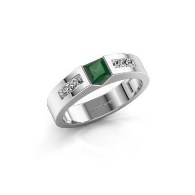 Foto van Verlovings ring Arlena 2 585 witgoud smaragd 4 mm