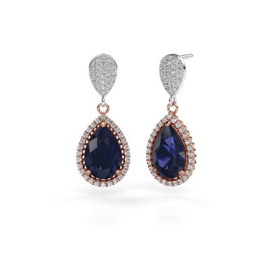 Drop earrings Tilly per 2 585 rose gold sapphire 12x8 mm